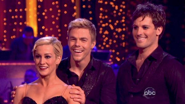 "<div class=""meta ""><span class=""caption-text "">Kellie Pickler and partner Derek Hough danced a Paso Doble trio with Tristan MacManus on week eight of 'Dancing With The Stars' on May 6, 2013. They received 27 out of 30 points from the judges.  The pair received 28 out of 30 points for their previous dance on this episode, the Viennese Waltz. Their total for the night was 55 out of 60. (ABC Photo / Adam Taylor)</span></div>"