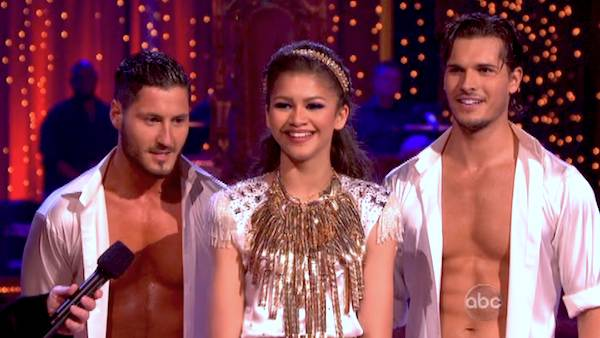 "<div class=""meta image-caption""><div class=""origin-logo origin-image ""><span></span></div><span class=""caption-text"">'Shake It Up' actress Zendaya and partner Val Chmerkovskiy danced a Salsa trio with Gleb Savchenko on week eight of 'Dancing With The Stars' on May 6, 2013. They received 30 out of 30 points from the judges.  The pair received 28 out of 30 points for their previous dance on this episode, the Foxtrot. Their total for the night was 58 out of 60. (ABC Photo/ Adam Taylor)</span></div>"