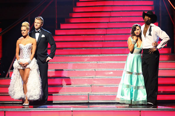 "<div class=""meta ""><span class=""caption-text "">NFL star Jacoby Jones, former 'Bachelor' Sean Lowe and their partners await their fate on 'Dancing With The Stars: The Results Show' on May 7, 2013. (ABC Photo/ Adam Taylor)</span></div>"