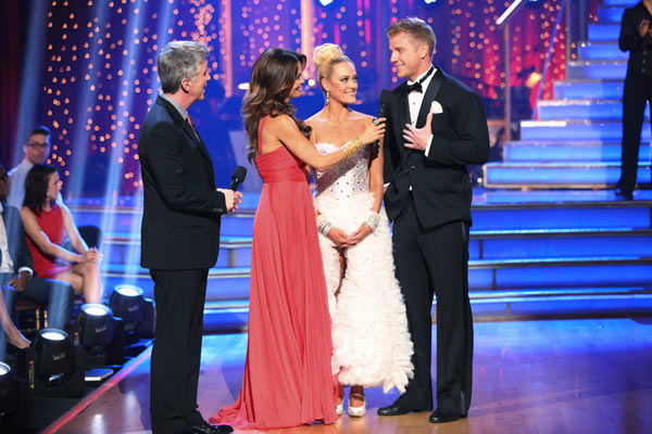Former &#39;Bachelor&#39; star Sean Lowe and his partner Peta Murgatroyd react to their elimination on &#39;Dancing With The Stars: The Results Show&#39; on May 7, 2013.  The pair received 21 out of 30 points from the judges for their Tango on week eight of &#39;Dancing With The Stars,&#39; which aired on May 6, 2013. They also received 21 out of 30 points for their Jazztrio, which brought their week&#39;s total to 42 out of 60.  <span class=meta>(ABC Photo&#47; Adam Taylor)</span>