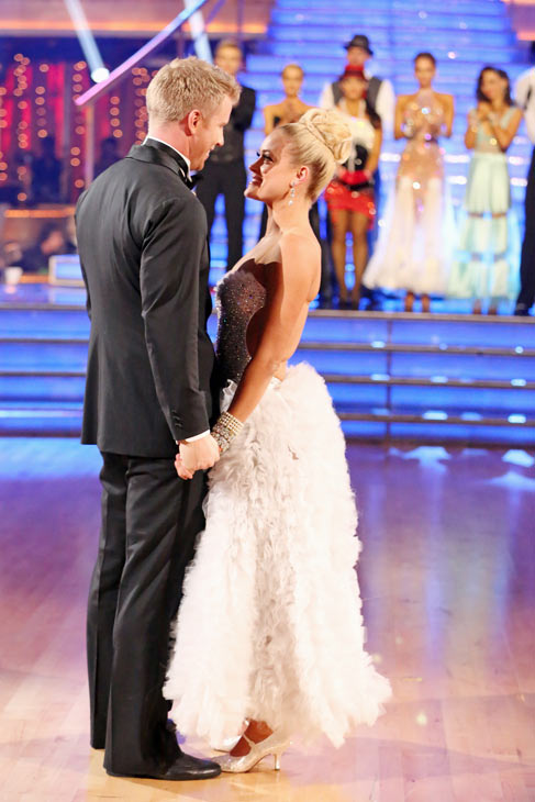 Former 'Bachelor' star Sean Lowe and his partner Peta Murgatroyd react to their elimination on 'Dancing With The Stars: The Results Show' on May 7, 2013.