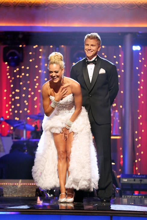 Former 'Bachelor' star Sean Lowe and his partner Peta Murgatroyd await their fate on 'Dancing With The Stars: The Results Show' on May 7, 2013.