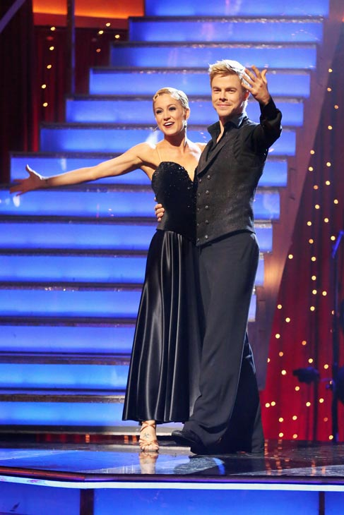 Kellie Pickler and Derek Hough react to being safe from elimination on &#39;Dancing With The Stars: The Results Show&#39; on May 7, 2013.   The pair received 28 out of 30 points from the judges for their Viennese Waltz routine on week eight of &#39;Dancing With The Stars,&#39; which aired on May 6, 2013. They also received 27 out of 30 points for their Paso Doble trio, which brought their week&#39;s total to 55 out of 60. <span class=meta>(ABC&#47;Adam Taylor)</span>