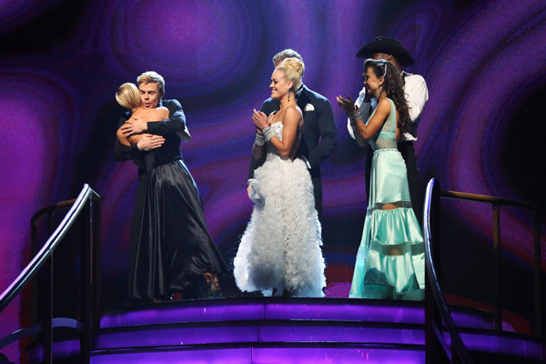 "<div class=""meta ""><span class=""caption-text "">Kellie Pickler and Derek Hough react to being safe from elimination on 'Dancing With The Stars: The Results Show' on May 7, 2013.   The pair received 28 out of 30 points from the judges for their Viennese Waltz routine on week eight of 'Dancing With The Stars,' which aired on May 6, 2013. They also received 27 out of 30 points for their Paso Doble trio, which brought their week's total to 55 out of 60. (ABC/Adam Taylor)</span></div>"