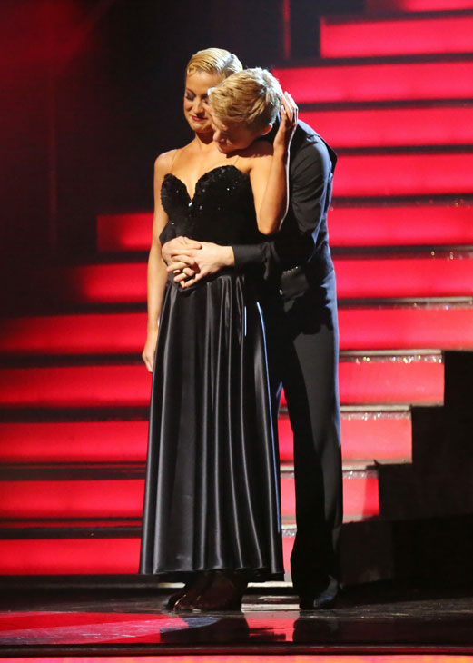 "<div class=""meta ""><span class=""caption-text "">Kellie Pickler and Derek Hough await their fate on 'Dancing With The Stars: The Results Show' on May 7, 2013.   The pair received 28 out of 30 points from the judges for their Viennese Waltz routine on week eight of 'Dancing With The Stars,' which aired on May 6, 2013. They also received 27 out of 30 points for their Paso Doble trio, which brought their week's total to 55 out of 60.  (ABC Photo / Adam Taylor)</span></div>"