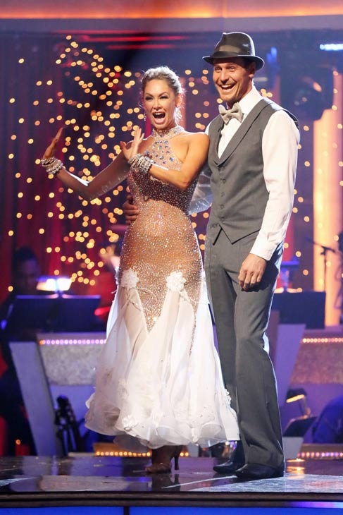 "<div class=""meta ""><span class=""caption-text "">Actor Ingo Rademacher and his partner Kym Johnson react to being safe from elimination on 'Dancing With The Stars: The Results Show' on May 7, 2013.  The pair received 24 out of 30 points from the judges for their Foxtrot routine on week eight of 'Dancing With The Stars,' which aired on May 6, 2013. They also received 24 out of 30 points for their trio, which brought their week's total to 48 out of 60.  (ABC Photo/ Adam Taylor)</span></div>"
