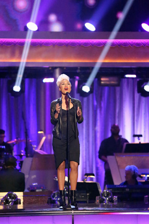 Emeli Sande performs her hit 'Next to Me' and her new single 'Heaven' on 'Dancing With The Stars: The Results Show' on May 7, 2013.