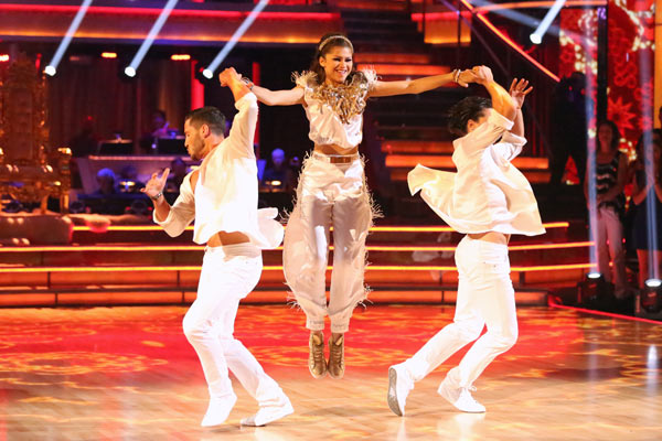 Zendaya, Val Chmerkovskiy and  Gleb Savchenko perform an encore of their Salsa trio on &#39;Dancing With The Stars: The Results Show&#39; on May 7, 2013. They had earned a a score of 30 out of 30 points for their performance on May 6, 2013.  <span class=meta>(ABC Photo &#47; Adam Taylor)</span>