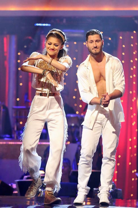 "<div class=""meta image-caption""><div class=""origin-logo origin-image ""><span></span></div><span class=""caption-text"">Zendaya and Val Chmerkovskiy react after being safe from elimination on 'Dancing With The Stars: The Results Show' on May 7, 2013.  The pair received 28 out of 30 points from the judges for their Foxtrot on week 8 of 'Dancing With The Stars,' which aired on May 6, 2013. They also received 30 out of 30 points for their Salsa trio, which brought their week's total to 58 out of 60. (ABC Photo/ Adam Taylor)</span></div>"