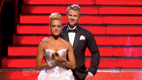 "<div class=""meta image-caption""><div class=""origin-logo origin-image ""><span></span></div><span class=""caption-text"">Former 'Bachelor' star Sean Lowe and his partner Peta Murgatroyd await their fate on 'Dancing With The Stars: The Results Show' on May 7, 2013.  The pair received 21 out of 30 points from the judges for their Tango on week eight of 'Dancing With The Stars,' which aired on May 6, 2013. They also received 21 out of 30 points for their Jazztrio, which brought their week's total to 42 out of 60. (ABC Photo/ Adam Taylor)</span></div>"