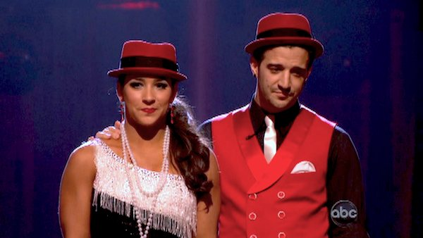 "<div class=""meta ""><span class=""caption-text "">Olympic gymnast Aly Raisman and her partner Mark Ballas await their fate on 'Dancing With The Stars: The Results Show' on May 7, 2013.   The pair received 29 out of 30 points from the judges for their Argentine Tango routine on week 8 of 'Dancing With The Stars,' which aired on May 7, 2013. They also received 27 out of 30 points for their Jive trio, which brought their week's total to 56 out of 60. (ABC Photo/ Adam Taylor)</span></div>"