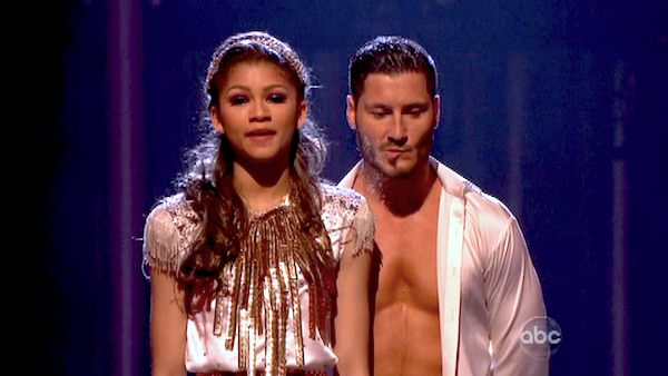 "<div class=""meta ""><span class=""caption-text "">Zendaya and Val Chmerkovskiy await their fate on 'Dancing With The Stars: The Results Show' on May 7, 2013.  The pair received 28 out of 30 points from the judges for their Foxtrot on week 8 of 'Dancing With The Stars,' which aired on May 6, 2013. They also received 30 out of 30 points for their Salsa trio, which brought their week's total to 58 out of 60. (ABC Photo/ Adam Taylor)</span></div>"
