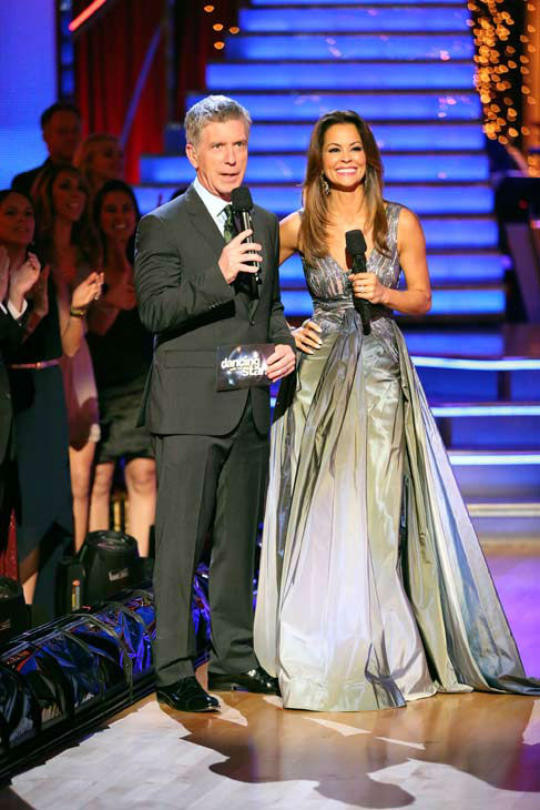 Tom Bergeron and Brooke Burke-Charvet appear on week 9 of 'Dancing With The Stars' on May 13, 2013.