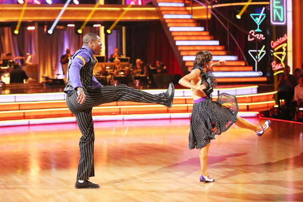 "<div class=""meta ""><span class=""caption-text "">NFL star Jacoby Jones and partner Karina Smirnoff dance the Lindy Hop, chosen by Twitter fans, on week 9 of 'Dancing With The Stars' on May 13, 2013. They received 29 out of 30 points from the judges. The two received 30 out of 30 for their first dance, the Argentine Tango, for a total of 59 out of 60. (ABC Photo/ Adam Taylor)</span></div>"