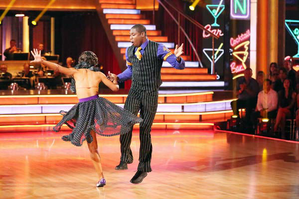 "<div class=""meta image-caption""><div class=""origin-logo origin-image ""><span></span></div><span class=""caption-text"">NFL star Jacoby Jones and partner Karina Smirnoff dance the Lindy Hop, chosen by Twitter fans, on week 9 of 'Dancing With The Stars' on May 13, 2013. They received 29 out of 30 points from the judges. The two received 30 out of 30 for their first dance, the Argentine Tango, for a total of 59 out of 60. (ABC Photo/ Adam Taylor)</span></div>"