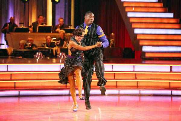 NFL star Jacoby Jones and partner Karina Smirnoff dance the Lindy Hop, chosen by Twitter fans, on week 9 of &#39;Dancing With The Stars&#39; on May 13, 2013. They received 29 out of 30 points from the judges. The two received 30 out of 30 for their first dance, the Argentine Tango, for a total of 59 out of 60. <span class=meta>(ABC Photo&#47; Adam Taylor)</span>