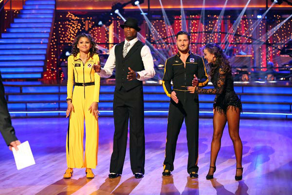 "<div class=""meta ""><span class=""caption-text "">'Shake It Up' actress Zendaya, her partner Val Chmerkovskiy, NFL star Jacoby Jones and his partner Karina Smirnoff appear on week 9 of 'Dancing With The Stars' on May 13, 2013. (ABC Photo/ Adam Taylor)</span></div>"