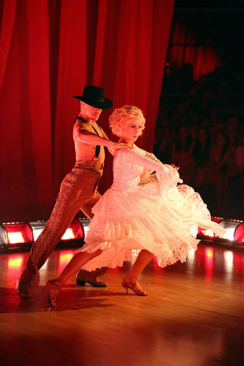 Kellie Pickler and partner Derek Hough received 28 out of 30 points from the judges for their Flamenco, chosen by Twitter fans, during week 9 of &#39;Dancing With The Stars,&#39; which aired on May 13, 2013.The two received 30 out of 30 for their first dance, the Argentine Tango, for a total of 58 out of 60. <span class=meta>(ABC Photo&#47; Adam Taylor)</span>