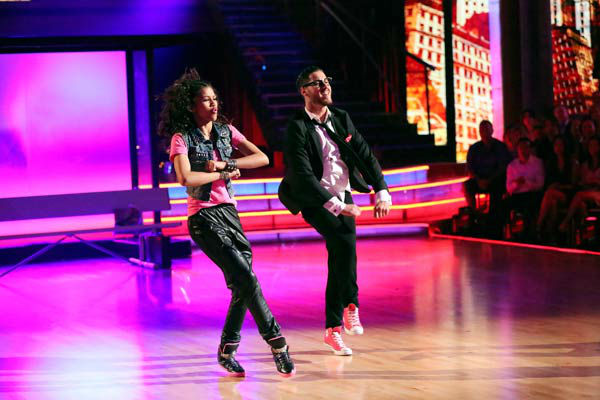 &#39;Shake It Up&#39; actress Zendaya and partner Val Chmerkovskiy dance Hip Hop, chosen by Twitter fans, on week 9 of &#39;Dancing With The Stars&#39; on May 13, 2013. They received 30 out of 30 points from the judges.  The two received 25 out of 30 for their first dance, the Quickstep, for a total of 55 out of 60.  <span class=meta>(ABC Photo&#47; Adam Taylor)</span>