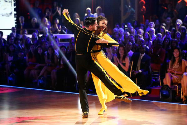 "<div class=""meta ""><span class=""caption-text "">'Shake It Up' actress Zendaya and partner Val Chmerkovskiy dance the Quiskstep on week 9 of 'Dancing With The Stars' on May 13, 2013. They received 25 out of 30 points from the judges. (ABC Photo/ Adam Taylor)</span></div>"