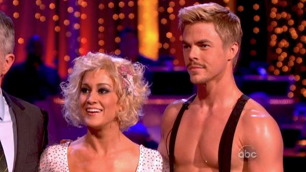 Kellie Pickler and partner Derek Hough received 28 out of 30 points from the judges for their Flamenco, chosen by Twitter fans, during week 9 of &#39;Dancing With The Stars,&#39; which aired on May 13, 2013. The two received 30 out of 30 for their first dance, the Argentine Tango, for a total of 58 out of 60. <span class=meta>(Photo &#47; Adam Taylor)</span>