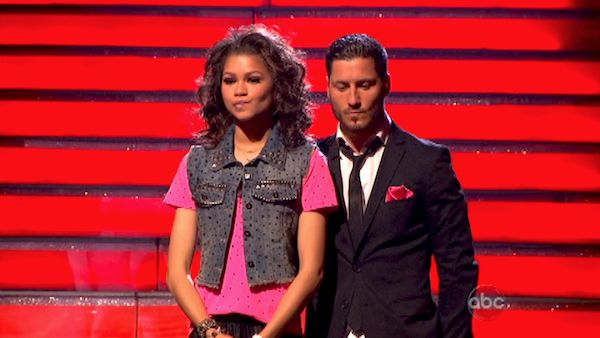 "<div class=""meta ""><span class=""caption-text "">'Shake It Up' actress Zendaya  and her partner Val Chmerkovskiy await their fate on 'Dancing With The Stars: The Results Show' on May 14, 2013.  The pair received 30 out of 30 points from the judges for their Hip Hop routine on week 9 of 'Dancing With The Stars,' which aired on May 13, 2013. They also received 25 out of 30 points for their Quickstep, which brought their week's total to 55 out of 60. (ABC Photo / Adam Taylor)</span></div>"