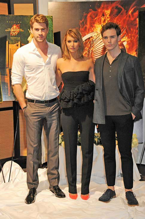 "<div class=""meta ""><span class=""caption-text "">Liam Hemsworth, Jennifer Lawrence and Sam Claflin appear at 'The Hunger Games: Catching Fire' photocall at the 2013 Cannes Film Festival at Majestic Barierre on May 18, 2013 in Cannes, France. (Dave M. Benett / Getty Images for Lionsgate)</span></div>"