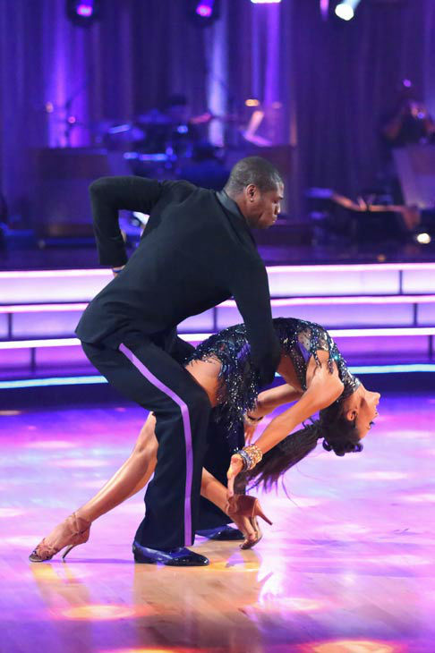 NFL star Jacoby Jones and partner Karina Smirnoff dance the Cha Cha relay on week 10 of 'Dancing With The Stars' on May 20, 2013. They came in fourth place and received 2 additional points from the judges.