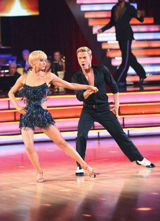 Kellie Pickler and partner Derek Hough received 4 additional points from the judges after coming in second place in the Cha Cha relay during week 10 of 'Dancing With The Stars,' which aired on May 20, 2013.