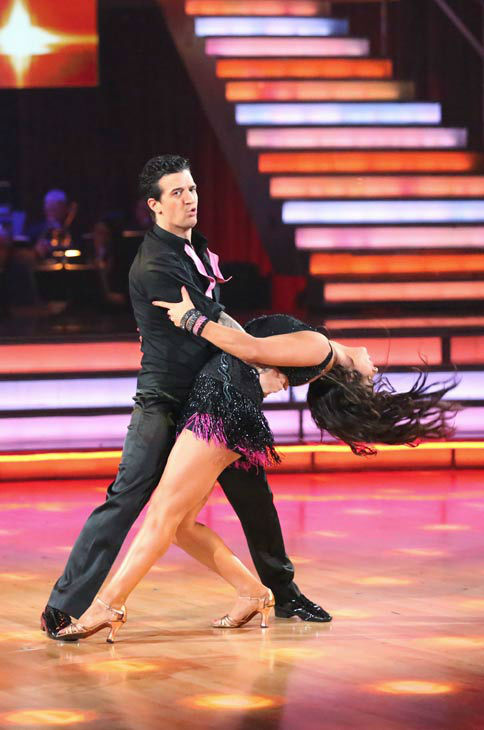 Olympic gymnast Aly Raisman and her partner Mark Ballas dance the Cha Cha relay on week 10 of 'Dancing With The Stars' on May 20, 2013. They came in third place and received 3 additional points from the judges.