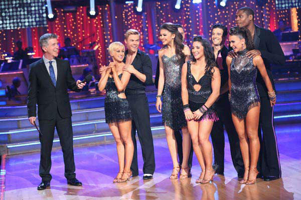 Kellie Pickler, Derek Hough, Zendaya, Val Chmerkovskiy, Alexandra Raisman, Mark Ballas, Karina Smirnoff and Jacoby Jones appear on week 10 of 'Dancing With The Stars' on May 20, 2013.