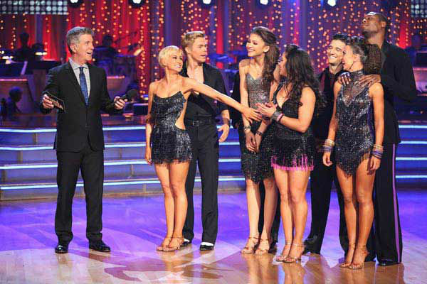 "<div class=""meta ""><span class=""caption-text "">Kellie Pickler, Derek Hough, Zendaya, Val Chmerkovskiy, Alexandra Raisman, Mark Ballas, Karina Smirnoff and Jacoby Jones appear on week 10 of 'Dancing With The Stars' on May 20, 2013. (ABC Photo/ Adam Taylor)</span></div>"