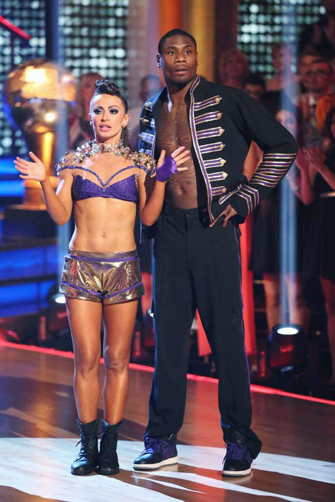 "<div class=""meta image-caption""><div class=""origin-logo origin-image ""><span></span></div><span class=""caption-text"">NFL star Jacoby Jones and partner Karina Smirnoff dance Freestyle on week 10 of 'Dancing With The Stars' on May 20, 2013. They received 27 out of 30 points from the judges, making their night's cumulative score 56 out of 65 points. (ABC Photo/ Adam Taylor)</span></div>"