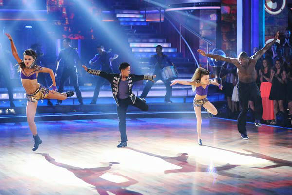 NFL star Jacoby Jones and partner Karina Smirnoff danced Freestyle on week 10 of 'Dancing With The Stars' on May 20, 2013.