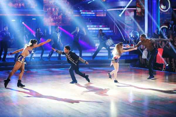 NFL star Jacoby Jones and partner Karina Smirnoff dance Freestyle on week 10 of &#39;Dancing With The Stars&#39; on May 20, 2013. They received 27 out of 30 points from the judges, making their night&#39;s cumulative score 56 out of 65 points. <span class=meta>(ABC Photo&#47; Adam Taylor)</span>