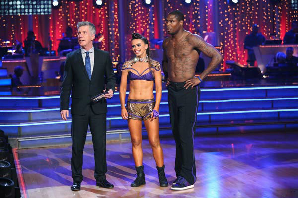 "<div class=""meta image-caption""><div class=""origin-logo origin-image ""><span></span></div><span class=""caption-text"">NFL star Jacoby Jones and partner Karina Smirnoff danced Freestyle on week 10 of 'Dancing With The Stars' on May 20, 2013. They received 27 out of 30 points from the judges, making their night's cumulative score 56 out of 65 points. (ABC Photo/ Adam Taylor)</span></div>"