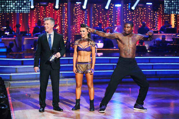 NFL star Jacoby Jones and partner Karina Smirnoff danced Freestyle on week 10 of &#39;Dancing With The Stars&#39; on May 20, 2013. They received 27 out of 30 points from the judges, making their night&#39;s cumulative score 56 out of 65 points. <span class=meta>(ABC Photo&#47; Adam Taylor)</span>