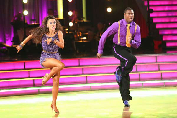 "<div class=""meta ""><span class=""caption-text "">NFL star Jacoby Jones and partner Karina Smirnoff dance freestyle on week 10 of 'Dancing With The Stars' on May 20, 2013. They received 27 out of 30 points from the judges, making their night's cumulative score 56 out of 65 points. (ABC Photo/ Adam Taylor)</span></div>"