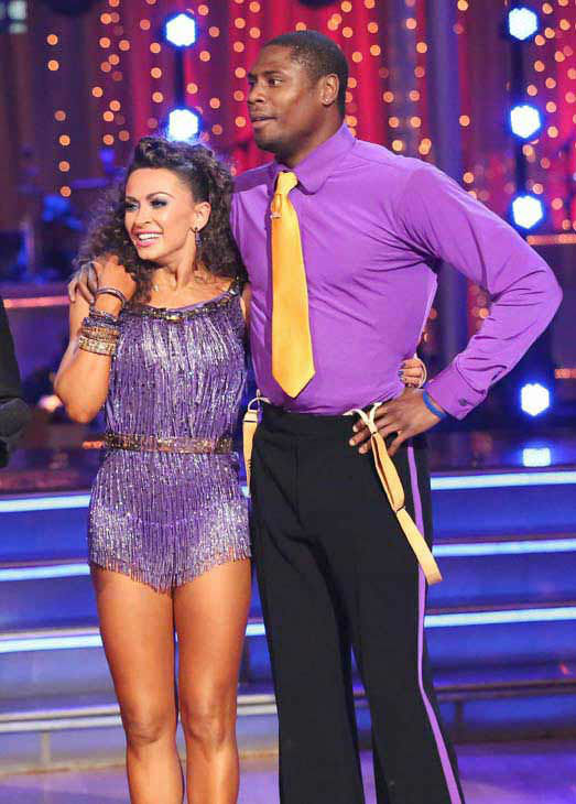 "<div class=""meta ""><span class=""caption-text "">NFL star Jacoby Jones and partner Karina Smirnoff danced the Jive on week 10 of 'Dancing With The Stars' on May 20, 2013. They received 27 out of 30 points from the judges. (ABC Photo/ Adam Taylor)</span></div>"