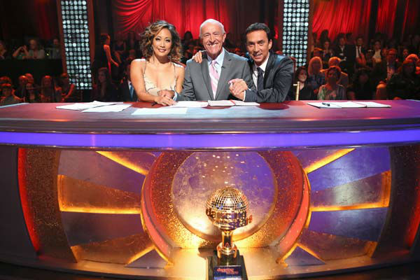 Judges Carrie Ann Inaba, Len Goodman and Bruno Tonioli appear on week 10 of 'Dancing With The Stars' on May 20, 2013.