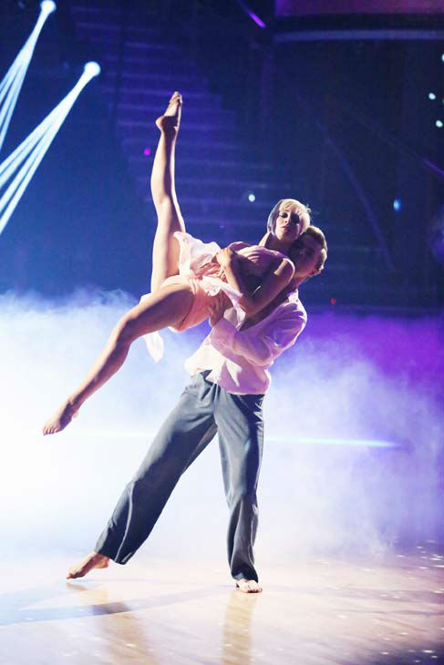 "<div class=""meta ""><span class=""caption-text "">Kellie Pickler and partner Derek Hough received 30 out of 30 points from the judges for their freestyle dance during week 10 of 'Dancing With The Stars,' which aired on May 20, 2013. Their night's cumulative score was 64 out of 65 points. (ABC Photo/ Adam Taylor)</span></div>"