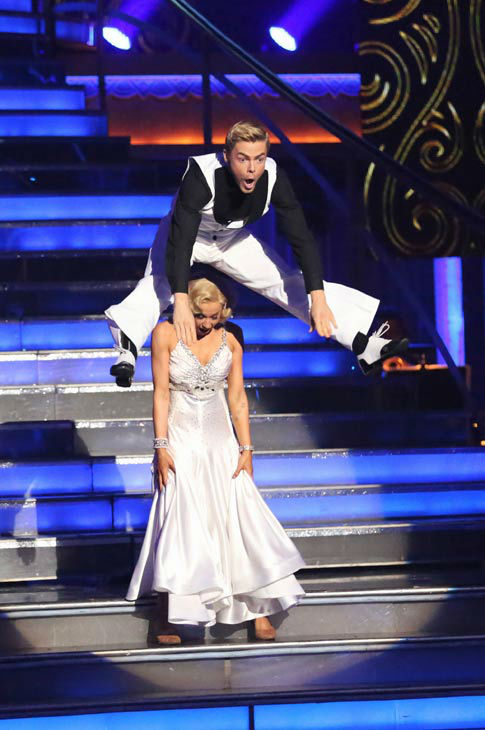 Kellie Pickler and partner Derek Hough danced the Quickstep on week 10 of 'Dancing With The Stars' on May 20, 2013.