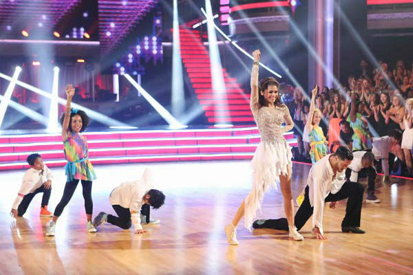 "<div class=""meta ""><span class=""caption-text "">'Shake It Up' actress Zendaya and partner Val Chmerkovskiy dance freestyle on week 10 of 'Dancing With The Stars' on May 20, 2013. They received 30 out of 30 points from the judges, making their night's cumulative score 65 out of 65 points. (ABC Photo/ Adam Taylor)</span></div>"