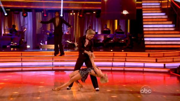 "<div class=""meta ""><span class=""caption-text "">Kellie Pickler and partner Derek Hough received 4 additional points from the judges after coming in second place in the Cha Cha relay during week 10 of 'Dancing With The Stars,' which aired on May 20, 2013. (ABC Photo / Adam Taylor)</span></div>"