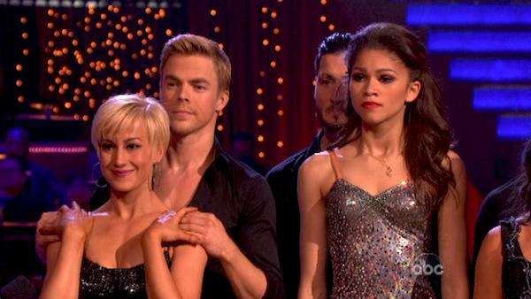 "<div class=""meta ""><span class=""caption-text "">Singer Kellie Pickler, 'Shake It Up' actress Zendaya and their partners appear on week 10 of 'Dancing With The Stars' on May 20, 2013 after the Cha Cha relay. Pickler came in second place and received 4 additional points from the judges. Zendaya came in first place and received 5 additional points from the judges. (ABC Photo / Adam Taylor)</span></div>"