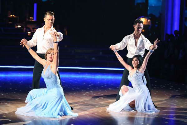 Former contestants Dorothy Hamill and Kristi Yamaguchi perform with Henry Byalikov and Sasha Farber on the 'Dancing With The Stars' season 16 finale on May 21, 2013.