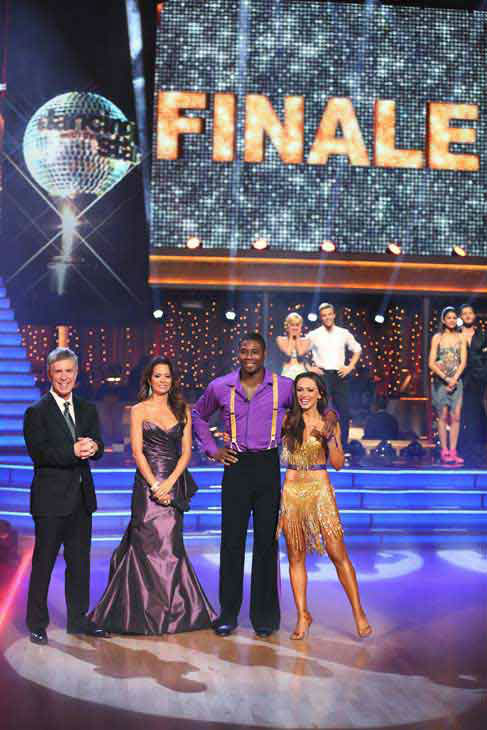 NFL star Jacoby Jones and Karina Smirnoff react to coming in third place on the &#39;Dancing With The Stars&#39; season 16 finale on May 21, 2013.The previous day, the pair received 27 out of 30 points from the judges for their Freestyle routine, 27 out of 30 points for their Jive and 2 extra points for their Cha Cha Cha, which brought their week&#39;s total to 56 out of 60. <span class=meta>(ABC Photo&#47; Adam Taylor)</span>