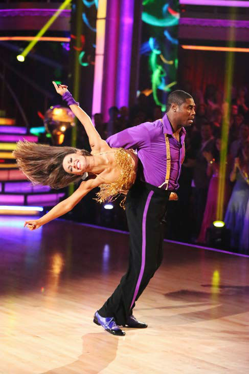 NFL star Jacoby Jones and partner Karina Smirnoff dance the Instant Salsa on week 10 of &#39;Dancing With The Stars&#39; on May 21, 2013. They received 30 out of 30 points from the judges, bringing their week&#39;s cumulative score to 86 out of 95 points. <span class=meta>(ABC Photo&#47; Adam Taylor)</span>