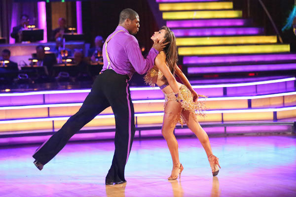 "<div class=""meta ""><span class=""caption-text "">NFL star Jacoby Jones and partner Karina Smirnoff dance the Instant Salsa on week 10 of 'Dancing With The Stars' on May 21, 2013. They received 30 out of 30 points from the judges, bringing their week's cumulative score to 86 out of 95 points. (ABC Photo/ Adam Taylor)</span></div>"