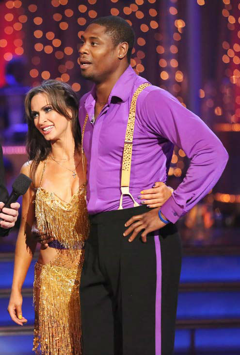 NFL star Jacoby Jones and partner Karina Smirnoff danced the Instant Salsa on week 10 of &#39;Dancing With The Stars&#39; on May 21, 2013. They received 30 out of 30 points from the judges, bringing their week&#39;s cumulative score to 86 out of 95 points. <span class=meta>(ABC Photo&#47; Adam Taylor)</span>
